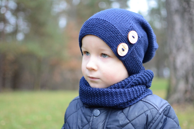9752a5ae4446 Navy Blue Boys Slouchy Hat Knitted Toddler Boy Slouchy