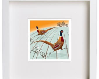 Dashing Pheasants and Red Fox Giclée ArtPrint