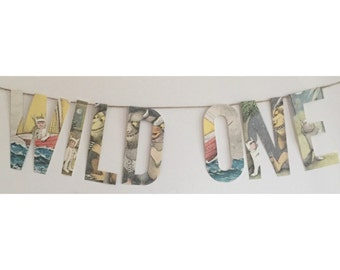 """Custom Where the Wild Things Are banner """"Wild One"""" or name first birthday banner"""