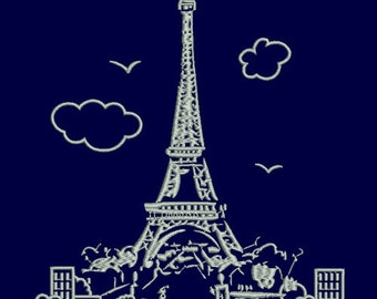 The Eiffel Tower Machine embroidery design digital The Eiffel Tower Machine INSTANT DOWNLOAD