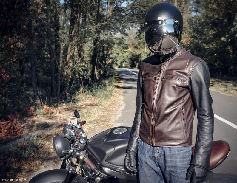9e0b439a91ea Biker in pelle giacca café racer giacca in pelle marrone | Etsy