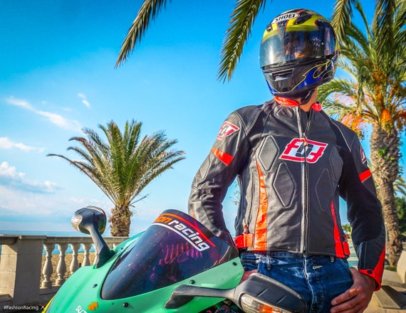 Schwarze Lederjacke Motorrad Motorrad Lederjacke Mode Racing Maßanfertigung