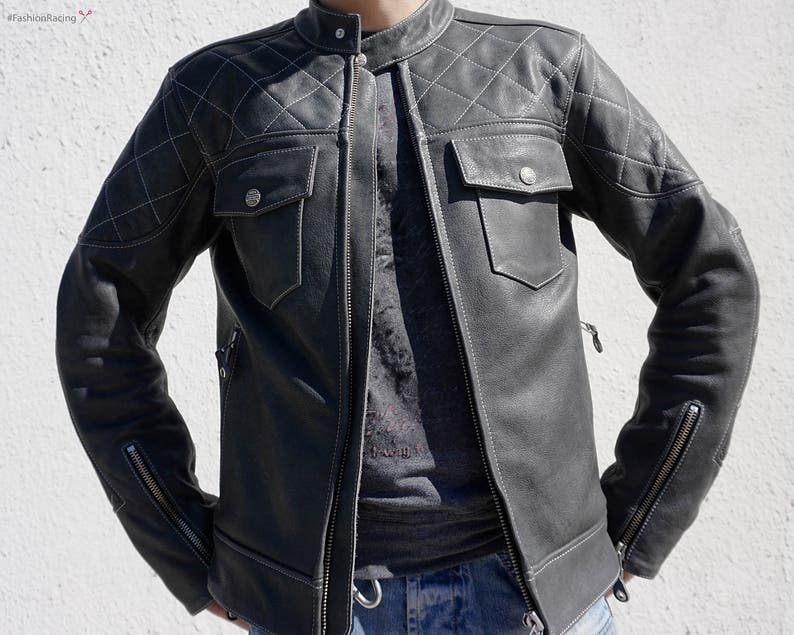 Leather Moto Jacket Men Biker Jacket Custom Leather Jacket Etsy