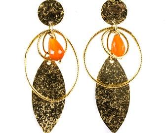 14ct Yellow Gold Carnelian Drop Earrings