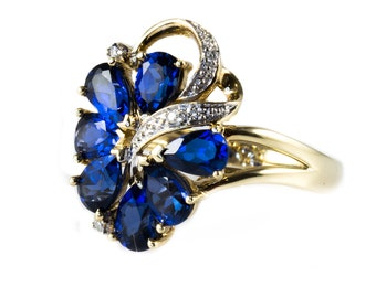 9ct Gold Ring With Floral Spray Vivid Blue Kyanite and Diamonds