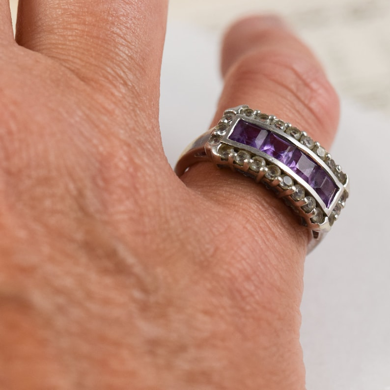 Sterling Silver Amethyst /& White Sapphires Art Deco Style