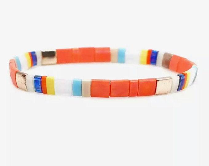"Bracelet ""TILA"" orange/colorful from Japanese Miyuki glass beads"