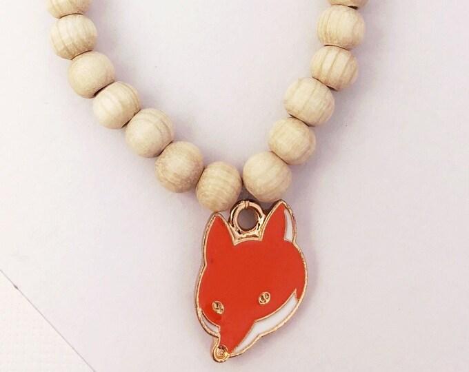 Children's bracelet wooden beads with fox pendant enamelled