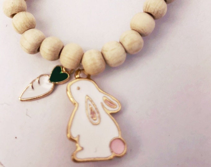 Bracelet bunny with carrot and wooden beads