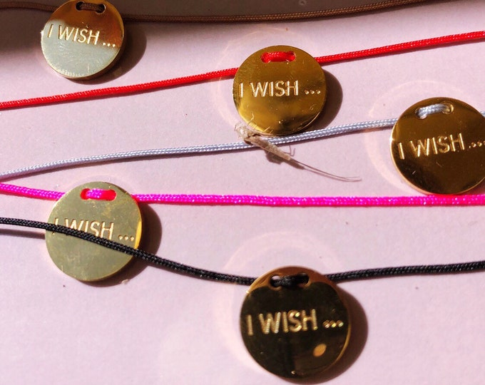 Wish bracelet I WISH with stainless steel pendant