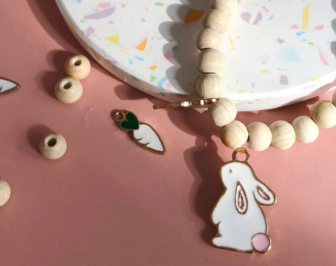 Bracelet Easter bunny with carrot and wooden beads