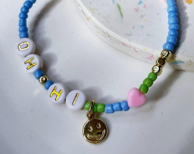 OH HI Bracelet blue green
