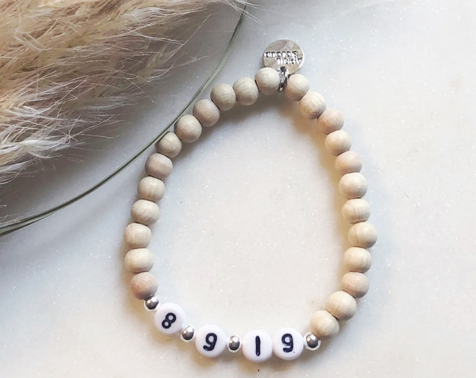 Bracelet personalized with date of birth birthday wooden beads