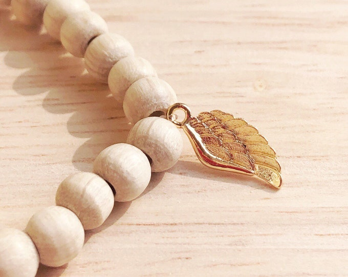 Wooden Bracelet with Wing Guardian Angel