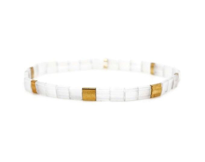"Bracelet ""TILA"" white made of Japanese Miyuki glass beads"