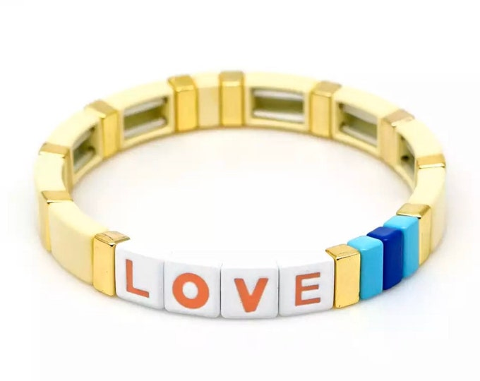 YELLOW LOVE bracelet made of enamelled metal beads