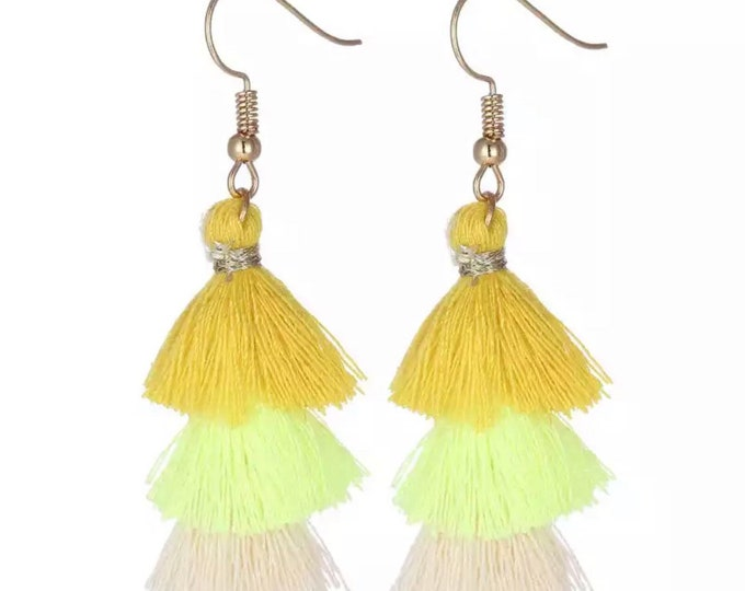 "Earrings with colorful tassels ""yellow"""