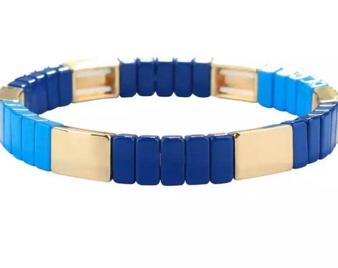 OCEAN bracelet made of enamelled metal beads