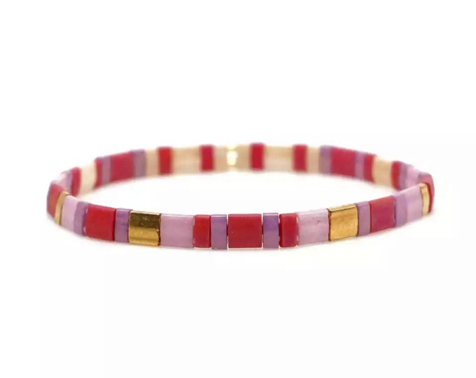 "Bracelet ""TILA"" Lilac & red from colorful Miyuki glass beads"