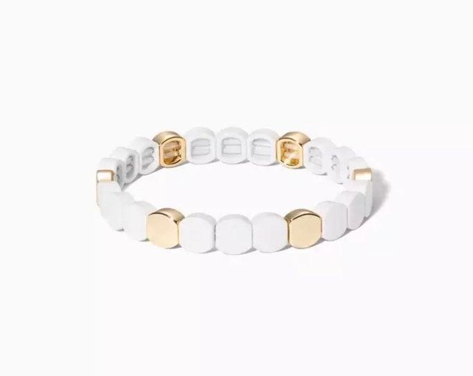 WHITE SHINE bracelet made of gold enamelled metal beads