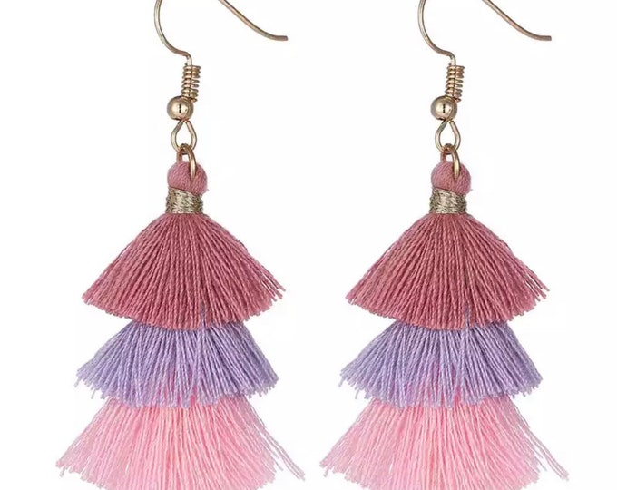 "Earrings with colorful tassels ""lilac"""