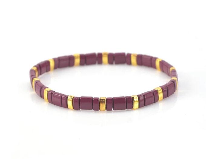 """Bracelet """"TILA"""" bordeaux/gold from Japanese Miyuki glass beads"""