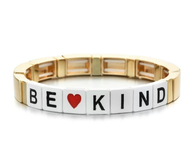 BE KIND bracelet made of enamelled metal beads