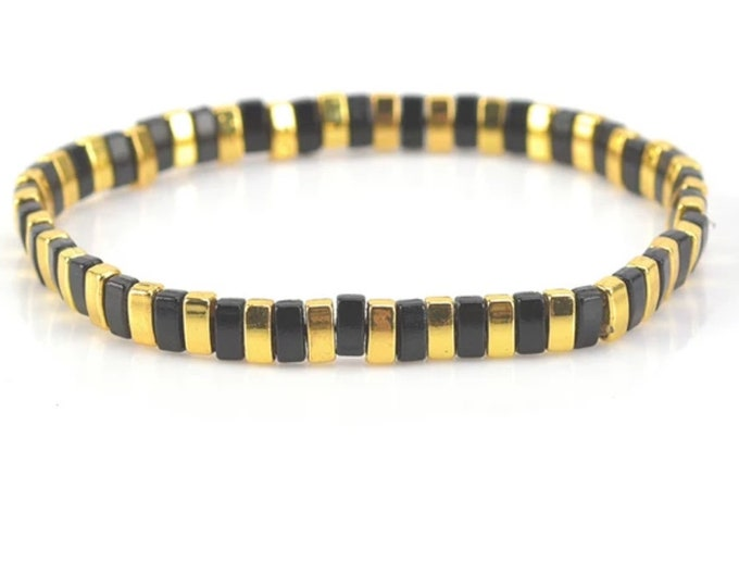 "Bracelet ""TILA"" black/gold from Japanese Miyuki glass beads"