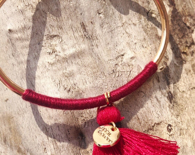 Bangle with colorful tassel Summer Boho Hippie