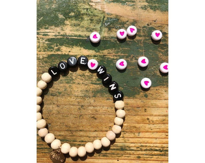 LOVE WINS Wooden Beads Bracelet