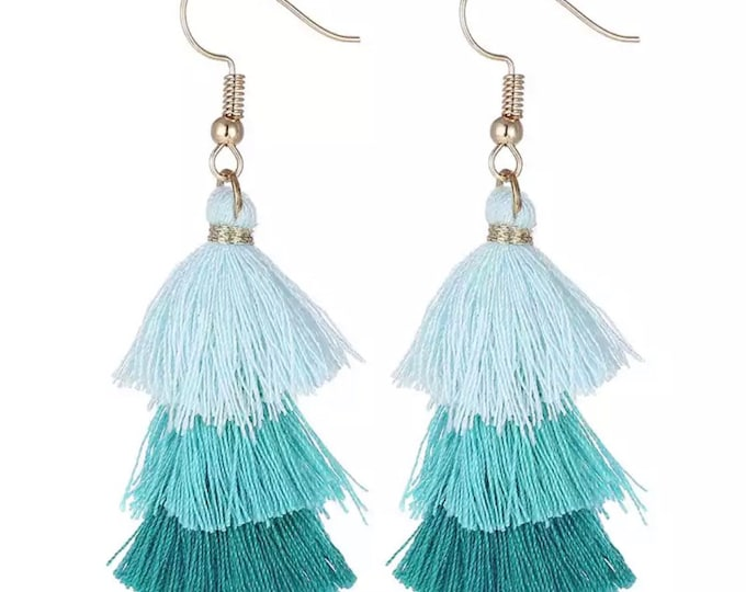 "Tassel earrings ""green"" colorful tassels"