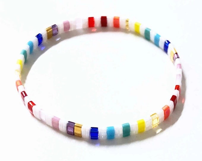 "ARMBAND ""boho"" made of glass beads colorful"