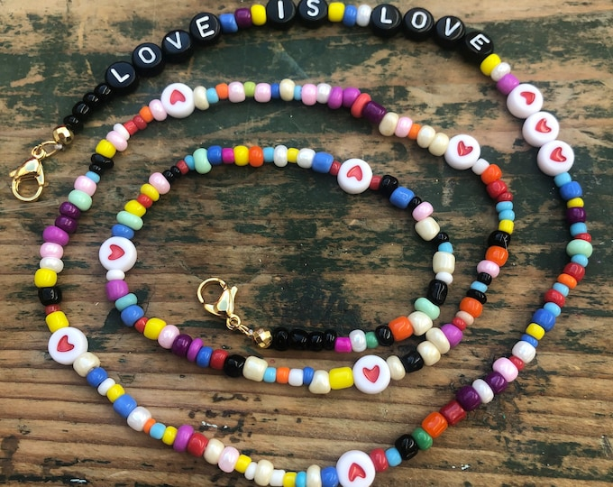 """Mask necklace """"Love is Love"""""""