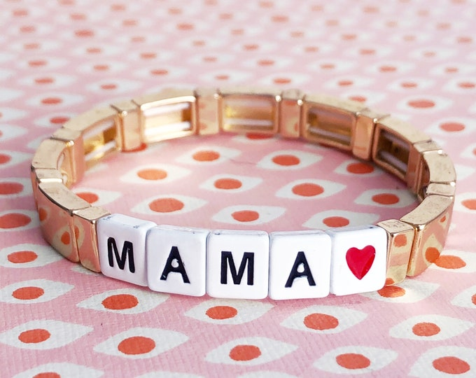 LOVE MAMA bracelet made of enamelled metal beads