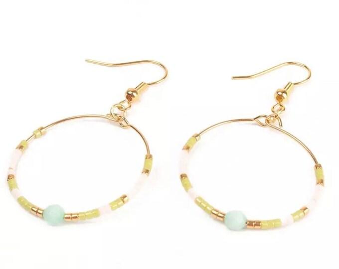 Delicate hoop earrings Miyuki beads