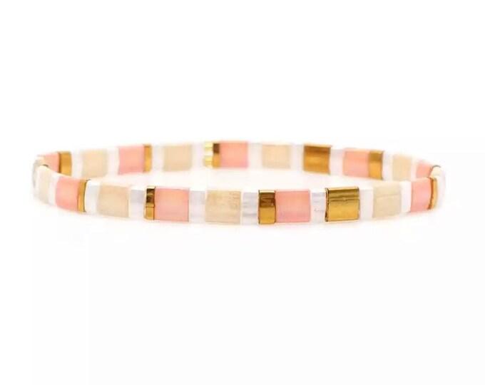 Bracelet boho white/rosé/gold