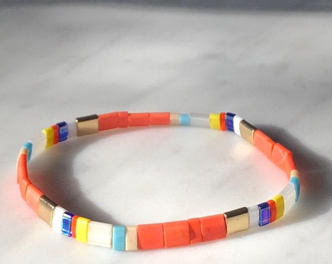 "Bracelet ""TILA"" orange yellow from colorful glass beads"