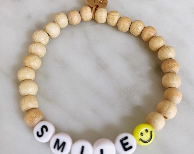 SMILE Wooden Beads Bracelet