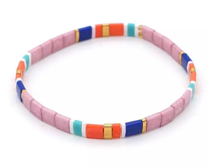 "Bracelet ""TILA"" made of colorful glass beads"