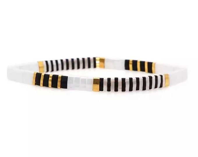 "Bracelet ""TILA"" white/black/gold"