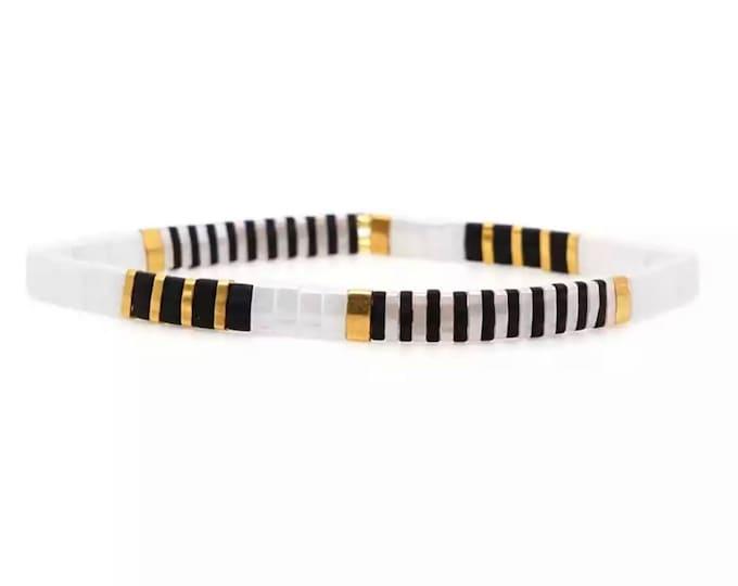 """Bracelet """"TILA"""" white/black/gold"""