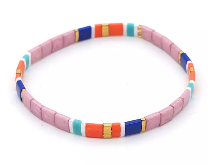 "Bracelet ""TILA VIBES"" made of colorful glass beads"