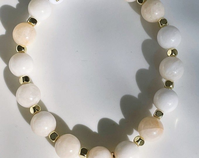 LOVE Jade off white bracelet by April & Cloud