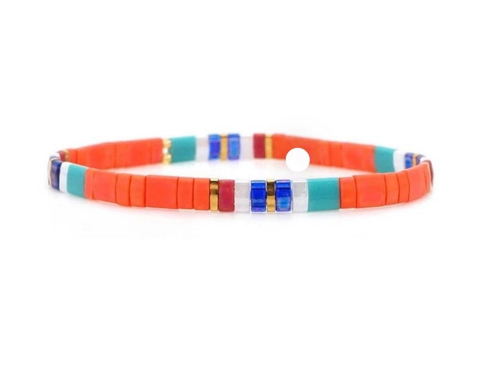 "Bracelet ""TILA"" orange blue from colorful glass beads"