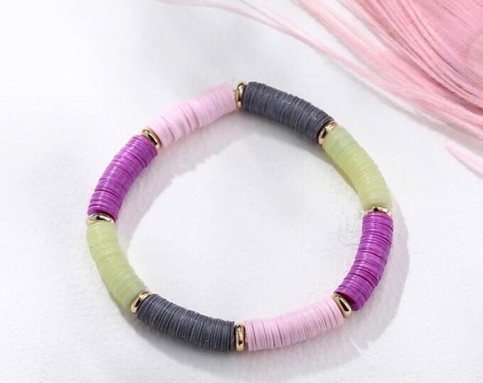 Pailettebracelet purple grey pink
