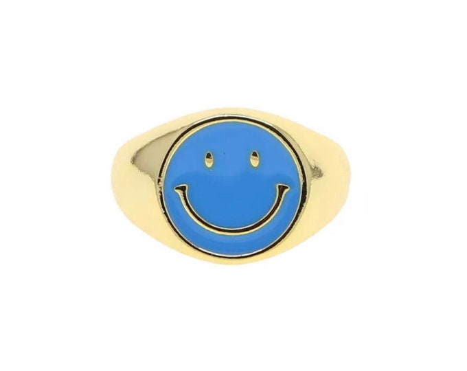HAPPY Statement Ring blue adjustable size