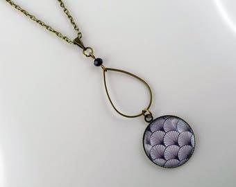 Necklace cabochon double wave vintage bronze long necklace