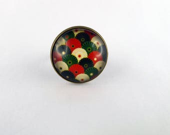 """Ring """"multicolored wave"""" glass cabochon 20 mm and bronze"""