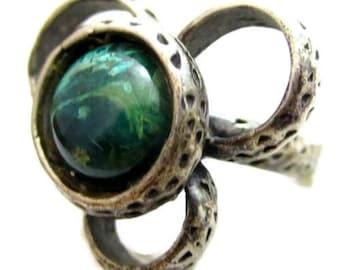 Dark Green Gemstone Vintage Modernist Flower Sterling Silver Ring*Sz 6.5*D703