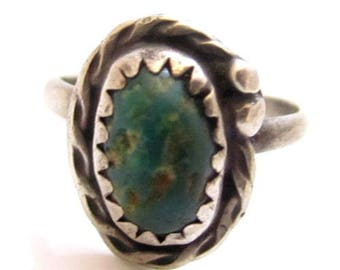 Green Turquoise Southwest Vintage Sterling Silver 925 Gemstone Ring*Sz 4*E416